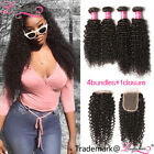 "Brazilian Virgin Hair Curly Weave 4 Bundles With Closure 4""*4"" Human Hair Weft"