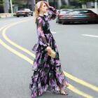 New Women Formal Full Length Floral Long Sleeve Party Prom Ball Falbala Dress