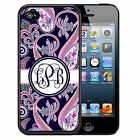 MONOGRAMMED RUBBER CASE FOR iPHONE X 8 7 6 5 5C SE PLUS NAVY PINK PAISLEY