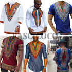 African Men Dashiki Print Blue Tribal Shirt Succinct Hippie Top Blouse Clothing