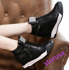Womens Bling Bling Fashion Sneakers Wedge Inside Pull On Creeper Shoes High Top