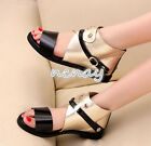 Womens Casual Flats Open Toe Sandals High Top Buckle Punk Style Shoes Strapy New