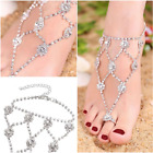 Women Feet Trendy Bling Bling Rhinestone Anklets with Toe Ring Foot Accessory