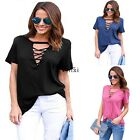 New Fashion Women Casual O-Neck Short Sleeve Solid Front Lace Up Loose TXWD