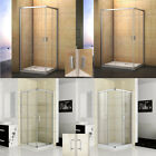 Corner Entry Shower Enclosure Tray Sliding Door Glass Cubicle Tray 70 76 80 90