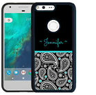 PERSONALIZE RUBBER CASE FOR GOOGLE PIXEL & PIXEL XL PINK PAISLEY TEAL BLACK TOP