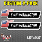 2 Pack CUSTOM Name and Flag Bicycle Sticker USA Vinyl Decal