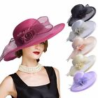 Womens Church Kentucky Derby Carriage Wedding Satin Ribbon Sinamay Race Hat A435