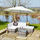 Aluminium 5 Piece Mix Grey Corner Modular Rattan Weave Garden Furniture Set