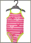 Girls NEW Mothercare PINK Butterfly Stripe Print Swimsuit, UK Ages 1.5 - 8 yrs