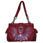Rhinestone Leaf Buckle Leather Shoulder Handbag Purse in Black and Red 2 Colors