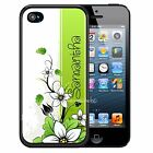 PERSONALIZED WHITE GREEN FLOWERS RUBBER CASE FOR iPHONE 7 6s 6 5c SE 5 5s PLUS