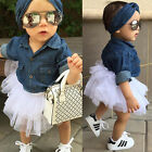 Toddler Kids Baby Girls Denim Tops T shirt+Tutu Skirts Dress 3pcs Outfits Set