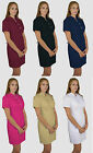 Long Uniform Dress Doctors SPA Beauty Tunic Nail Dentist Pockets Hospital Emil