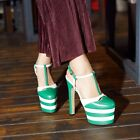 Womens Leather High Heel Platform Slingbacks T Strap Buckle Clubwear Shoes Pumps