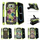 For Samsung Galaxy S8 G950 (2017) Clip Stand Green Case Yellow Purple Flowers
