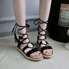 Retro Womens Strappy Roman Gladiator Tassel Lace Up Flats Sandals Shoes Plus SZ