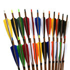 "32"" Archery  Pure Carbon Arrows Wood Pattern sp600 5"" turkey feather f Compound"