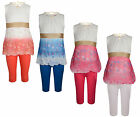 GIRLS LACE FLORAL DRESS TOP & LEGGINGS SET 2 PIECE OUTFIT 2-10 YEARS BNWT #PEARL