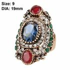 Jewelry Women Antique Gold Plated Blue Sapphire Crystal Resin Wedding Ring