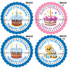 Personalised 1st Birthday stickers For Sweet Cones etc, 3 Sizes - Ref 07-45
