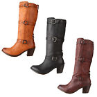Frye Womens Carmen 3 Strap Black-Brown-Tan Pull-On Fashion Knee-High Boots