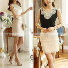 Womens Blouses Plus Size Sleeveless Clothes Chiffon Ladies Ebroidered Tops