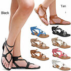 New Women OCp4 Black Tan Beige Gladiator Strappy Flat Sandals 6-10