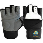AQWA Leather Weight Lifting Gloves Training Gym Fitness Glove Long Wrist Straps