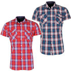 Crosshatch Turn Up Short Sleeve Check Shirt   Mens Size