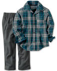NWT Carter's Baby/Toddler Boys' Button-Front Plaid Shirt & Gray Pants