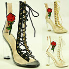 New Womens Ladies Lace Up Ankle Boots Perspex Clear Block Heel Sandals Shoes