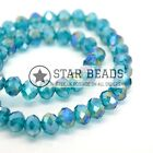 FACETED RONDELLE CRYSTAL GLASS BEADS TURQUOISE AB 4MM,6MM,8MM,10MM,12MM