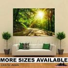 Wall Art Canvas Picture Print - Sun rays road beautiful green forest 3.2