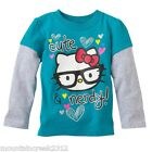New HELLO KITTY Girl's Shirt Size 4T CUTE & NERDY Layered Cotton Tee Toddler