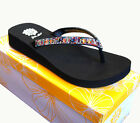 Yellow Box ZEMILY Black Multi  Leather Upper Rhinestone Flip Flop Sandal