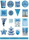 18 / 18th Birthday Blue Glitz Party Range - Party/Plates/Napkins/Banners/Cups