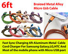 Aluminum Braided 6Ft USB Fast Charger Data Cable Cord For Samsung Galaxy,LG,HTC