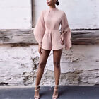 2017 Women Fashion New Flared Sleeve Backless High Neck Jumpsuit Playsuit Romper