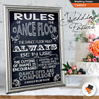 SHABBY CHIC RULES OF THE DANCE FLOOR PERSONALISED WEDDING POSTER SIGN DECOR