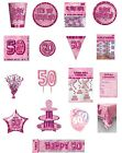 50 / 50th Birthday Pink Glitz Party Range - Party/Plates/Napkins/Banners/Cups