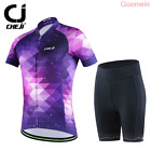 Women Cycling Bicycle Short Sleeve Outdoor Sport Suit Set Sky Jersey Shorts