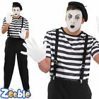 Adult Mens Mime Artist Costume Mens Fancy Dress French Circus Carnival