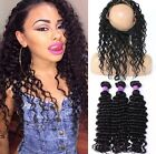 Brazilian Deep Curly Virgin Hair 3 Bundle Weave  With 360 Lace Frontal Closure