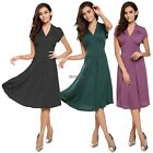 Women short sleeve V-Neck Vintage High Waist Dress casual party evening US HA19