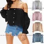 WOMENS LADIES OFF THE SHOULDER BARDOT LONG SLEEVE RUFFLE FLARED CROP TOP SHIRT