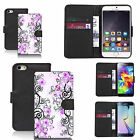 faux leather wallet case for many Mobile phones - purple cluster flowers
