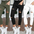 New Womens Stretchy Faded Ripped Slim Fit Skinny Leggings Trousers Ladies Pants
