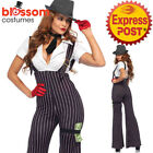 CA265 Brass Knuckle Babe Gangster Costume 1920s 20s Chicago Suit Pinstripe Mafia
