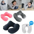 U-shape Inflatable Travel Air Pillow Neck Soft Velvet Cushion Eye Mask Ears Plug